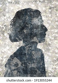 Engraved background with a silhouette of a female head in profile. Raster illustration