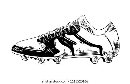 Engraved style illustration for posters, decoration and print. Hand drawn sketch of soccer shoe in black isolated on white background. Detailed vintage etching style drawing.