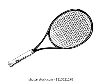 Engraved style illustration for posters, decoration and print. Hand drawn sketch of tennis racket in black isolated on white background. Detailed vintage etching style drawing.