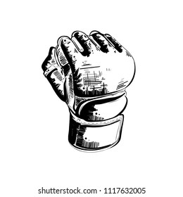 Engraved style illustration for posters, decoration and print. Hand drawn sketch of mma glove in black isolated on white background. Detailed vintage etching style drawing.