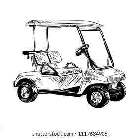 Engraved style illustration for posters, decoration and print. Hand drawn sketch of golf cart in black isolated on white background. Detailed vintage etching style drawing.