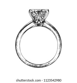 Engraved style illustration for posters, decoration and print. Hand drawn sketch of engagement ring in monochrome isolated on white background. Detailed vintage woodcut style drawing.