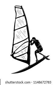 Engraved style illustration for posters, decoration and print. Hand drawn sketch of windsurfer in black isolated on white background. Detailed vintage etching style drawing.