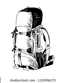 Engraved style illustration for posters, decoration and print. Hand drawn sketch of backpack in black isolated on white background. Detailed vintage etching style drawing.