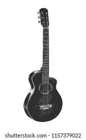 Engraved style illustration for posters, decoration and print. Hand drawn sketch of acoustic guitar in monochrome isolated on white background. Detailed vintage woodcut style drawing.