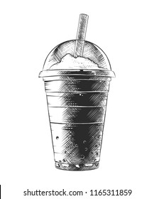 Engraved style illustration for posters, decoration and print. Hand drawn sketch of summer milkshake, monochrome isolated on white background. Detailed vintage woodcut style