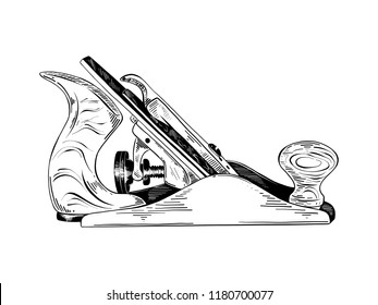 Engraved style illustration for posters, decoration and print. Hand drawn sketch of jointer tool in black isolated on white background. Detailed vintage etching style drawing.