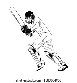 Engraved style illustration for posters, decoration and print. Hand drawn sketch of cricket player in black isolated on white background. Detailed vintage etching style drawing.