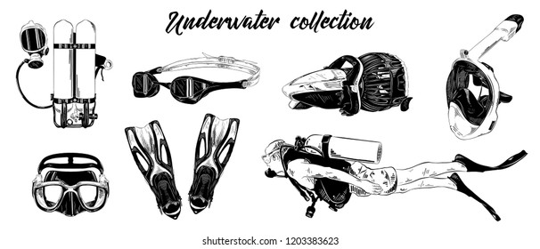 Engraved style illustration for posters, decoration. Hand drawn sketch of scuba diving, underwater and snorkeling set isolated on white background. Detailed vintage etching drawing.