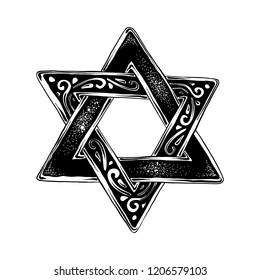 Engraved style illustration for posters, decoration and print. Hand drawn sketch of Jewish David's star in black isolated on white background. Detailed vintage etching style drawing.