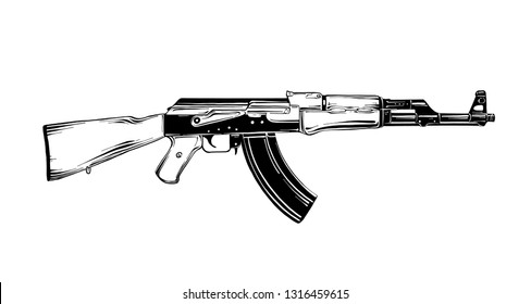 Engraved style illustration for posters, decoration and print. Hand drawn sketch of Kalashnikov assault rifle in black isolated on white background. Detailed vintage etching style drawing.