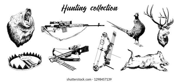 Engraved style illustrations for posters, logo, emblem and badge. Hand drawn sketch set of hunting sport equipment, weapon and animals. Detailed vintage hand drawn etching elements.