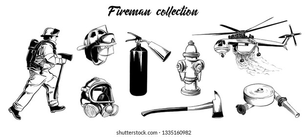 Engraved style illustrations for posters, logo, emblem and badge. Hand drawn sketch set of firefighter, extinguisher, hydrant, helicopter, gas mask, firehose. Detailed vintage etching drawing
