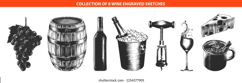 Engraved style wine list or menu collection for posters, decoration, logo, emblem. Hand drawn sketches of in monochrome isolated on white background. Detailed vintage woodcut style drawing.