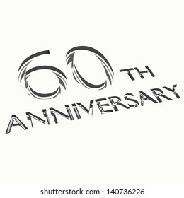 engraving of 60th anniversary words, for celebrations. 3d render.
