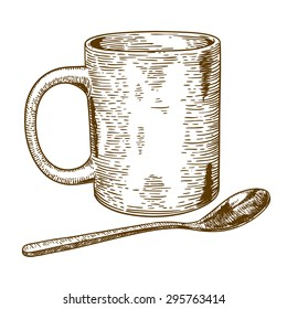 engraving antique illustration of a  mug and spoon isolated on white background