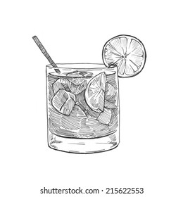Engraving style hatching pen pencil painting illustration alcohol cocktail lemon ice orange glass image. Engrave hatch lithography drawing collection.
