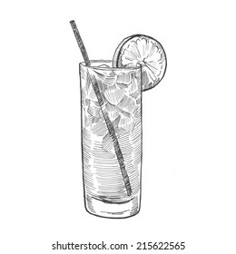 Engraving style hatching pen pencil painting illustration cocktail tall glass orange ice tube image. Engrave hatch lithography drawing collection.