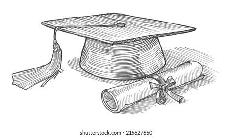 Engraving style hatching pen pencil painting illustration graduate cap diploma knowledge education concept collage image. Engrave hatch lithography drawing collection.