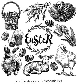 Engraving vintage collection of ink hand drawn Easter illustrations isolated on white. Easter holiday sketch set : basket, willow, nest, easter cake, tulips, bunny, lamb and chick