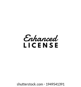 Enhanced License text on White Abstract Background.