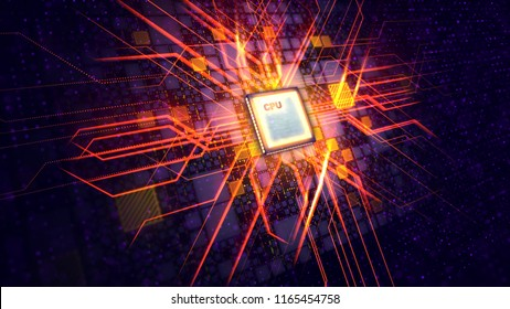 An enigmatic 3d illustration of a square CPU tablet making a figure resembling a plasma cross being put askew in the black background with yellow plates, violet spots and purple power lines.