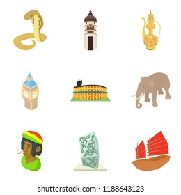Enigmatic world icons set. Cartoon set of 9 enigmatic world icons for web isolated on white background
