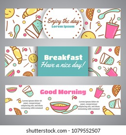 Enjoy the Day slogan. Good Morning text. Cafe, bakery concept business card. Coffeee and tea design Line icons