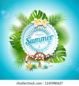 Enjoy the Summer Holiday typographic illustration on white badge and tropical plants background. Flower, sunglasses and marine elements with blue sky. Design template for banner, flyer, invitation