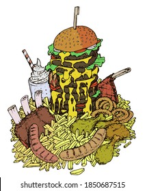 an enormous fastfood eating challenge