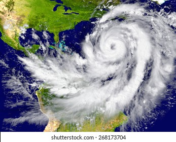 Enormous hurricane over the Atlantic. Elements of this image furnished by NASA