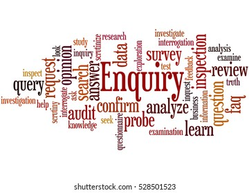 Enquiry, word cloud concept on white background.