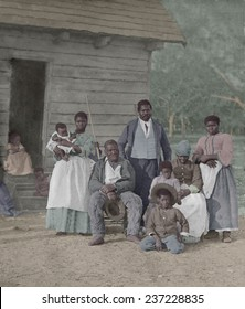 Enslaved African American family representing five generations born on the plantation of JJ Smith, Beaufort, South Carolina. Timothy O'Sullivan photographed the slaves in 1862.