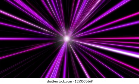 Entering purple space warp. Abstract background with fast flying light streaks. Speed line & stripes flying into glowing tunnel.
