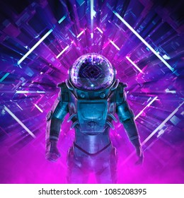Entering the unknown / 3D illustration of science fiction scene showing dark mysterious astronaut inside neon lit kaleidoscopic space ship corridor