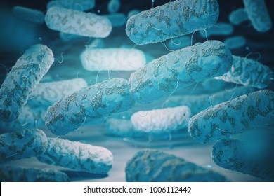 Enterobacterias. Gram-negative bacterias escherichia coli, salmonella, klebsiella, legionella. 3d illustration