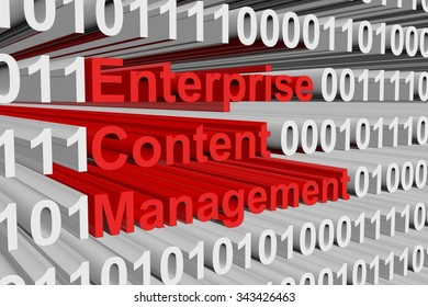 enterprise content management in the form of binary code, 3D illustration