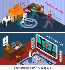 Entertainment isometric horizontal banners with virtual gaming players and kid playing videogames at home  illustration
