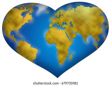 Entire world planisphere in heart shape, digital illustration