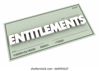 Entitlements Check Welfare Medicare Social Security 3d Illustration