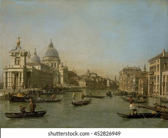 Entrance to the Grand Canal near the Punta della Dogana and Santa Maria della Salute, by Canaletto, 1730-45, Italian painting, oil on canvas