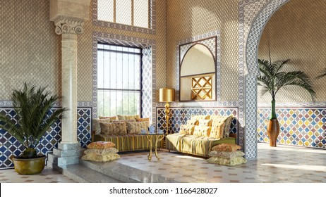 Entrance hall in Oriental style. Moroccan interior design. Rest zone in arabic style. 3d illustration