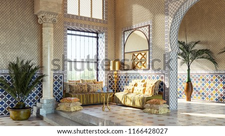 Entrance hall in Oriental style. Moroccan interior design. Rest zone in arabic style. & Entrance Hall Oriental Style Moroccan Interior Stock Illustration ...