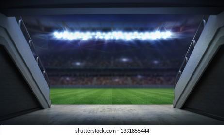 entrance to illuminated football stadium full of fans, football stadium sport theme digital 3D background advertisement illustration my own design