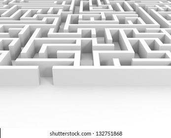 Entrance into the white maze. 3D illustration.