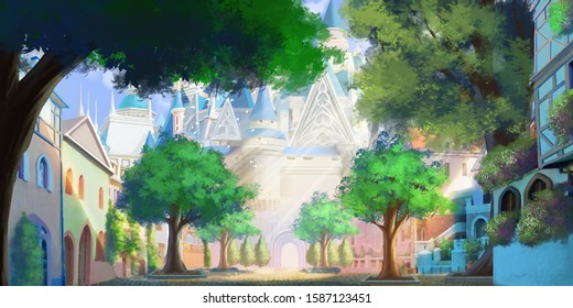 The Entrance of Magic School. Wizard Academy. Fantasy Castle and Town Backdrop. Medieval Scenery. Concept Art. Realistic Illustration. Video Game Digital CG Artwork Background.