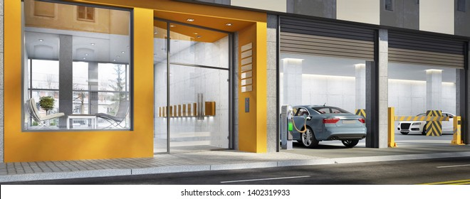 Entrance to a residential building. Entrance to the office building. Nearby parking for cars with charging station for electric vehicles. 3d rendering