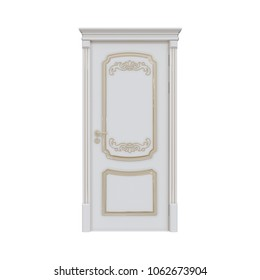 Entrance wooden door. single-leaf. corner molding. white wood and golden patina. corona. classical. on a white background. 3d illustration.