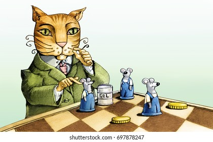 an entrepreneur cat plays chess with oil coins and brick workers