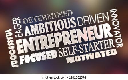 Entrepreneur Motivated Business Owner Word Collage 3d Illustration